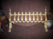 "SOLID CAST BRASS FIRE GRATE FRONT GUARD WITH FINIALS 15"" WIDE X 10"" HIGH"